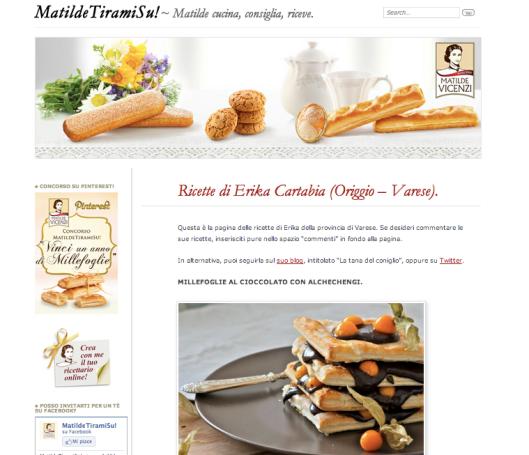 Ricettario personale sul sito Matilde Vicenzi: Elena Personi