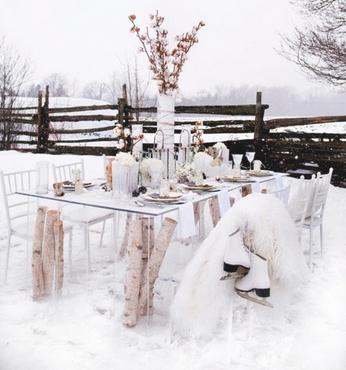 Pranzo all'aperto d'inverno
